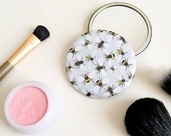 Bees Pocket Mirror - Compact Mirror - Stocking Filler - Purse Mirror - Make Up Mirror - Travel Mirror - Illustrated Mirror - Bee Mirror
