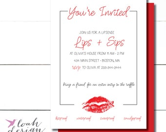 Lipsense Party Invite, Senegence Party Invite, Lips and Sips, Marketing Materials, Lip Distributor, Lipstick Branding // Price List