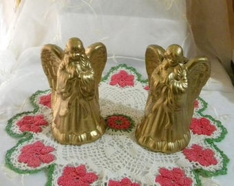 Xmas in July Sale Vintage Set of 2 Metallic Gold Ceramic Angels, Taper Candleholders, Beautiful Holiday Decor