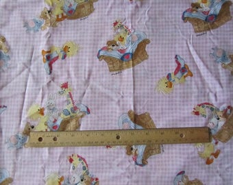 Pink Gingham Suzy Zoo Character Fabric by the Half Yard