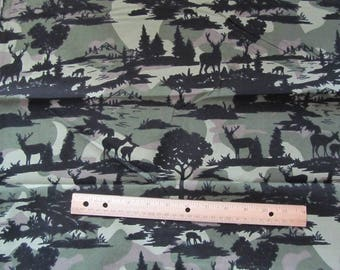 Green Camo with Black Deer Sillouette Flannel Fabric by the Yard