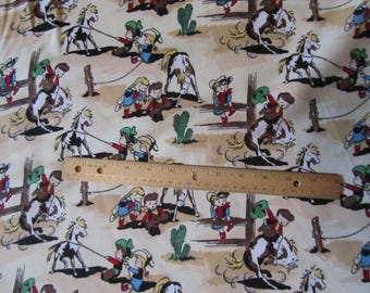 Tan/Brown Cowboy/Cowgirl/Rodeo/Roundup Flannel Fabric  by the Yard