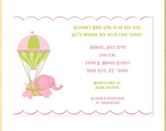 Baby Elephant and Balloon Baby Shower Invitation