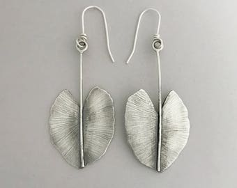 Sterling Silver Leaf Earrings, Large Leafs, Modern Long Dangles, Handcrafted Nature Jewelry, Gift For Girlfriend, Everyday Jewelry.