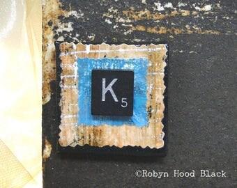 Fancy Scrabble Tile Letter  K and Painted Verdigris Magnet 2 X 2