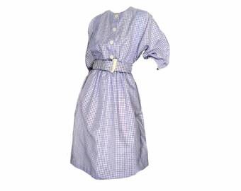 80s does 50s Shirtwaist Vintage 1980s Dress with Belt Purple Checkered Cotton Full Skirt R & K Originals