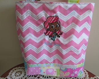 Bubble Guppies Kids Tote, Girl's Tote Bag, Pink Kids Bag, Personalized Tote