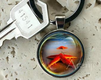 Red starfish keychain, key chain, key ring, key fob, starfish keychain, starfish key chain, starfish, gift for man, beach keychain #AN146K
