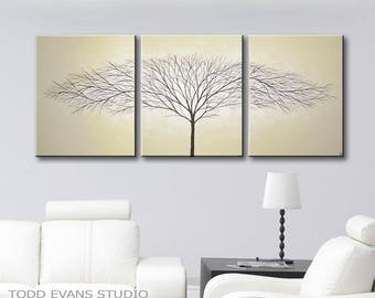 Large Wall Art Painting Tree of Life Wall Decor Canvas Art Paintings Wall Hangings Home Decor Modern Art Beige Art Tan Art 48x20