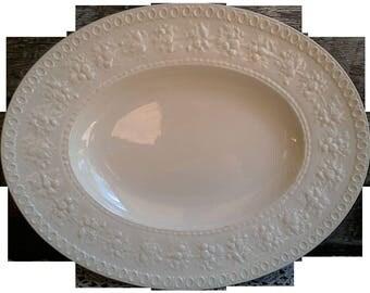 Antique Platter, Wedgwood Etruria, Embossed Fruit Border, White Ironstone, Oval, White Ironstone Platter, French Country, Farmhouse Decor