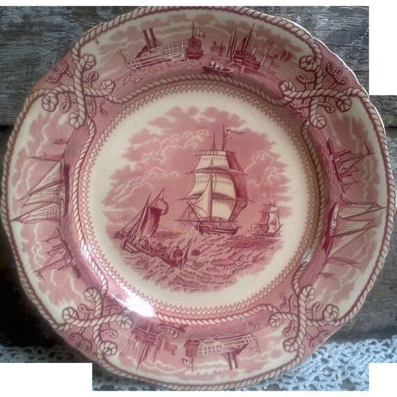 Masons American Marine dinner plate red transferware  nautical plate ironstone wall decor cabinet plate housewarming gift wedding gift ships