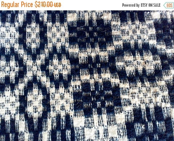 50% off Indigo Blue and White Woven Coverlet Remnant Cut, Crafting Fabric for Pillows, Runners and more