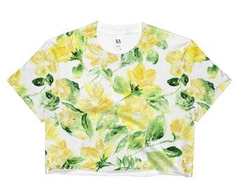 Floral Crop Top, yellow crop top, yellow floral top, yellow shirt, flower crop top, floral shirt