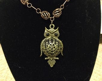 Filligree brass owl and copper steampunk necklace