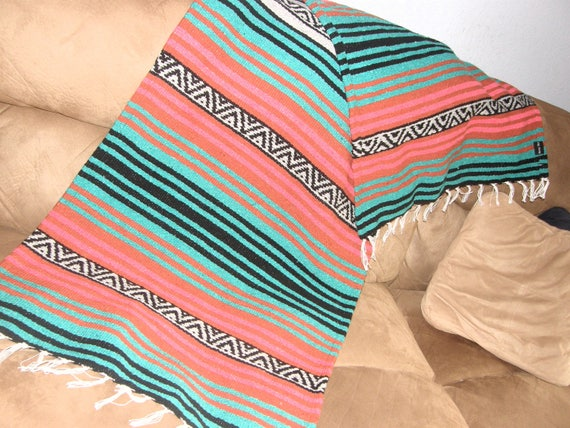 Throw EPO Made from Mexican Blanket Fabric Long rugged