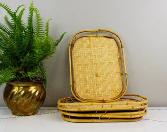 Rattan and Bamboo Serving Trays- Set of 4