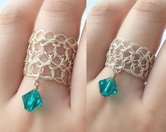Size 8 Sterling Silver Dangle Rings | December birthstone blue zircon crystal | Wire silver jewelry rings