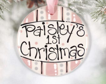 Personalized Baby's First Christmas Ornament in Pink  //  Double-Sided