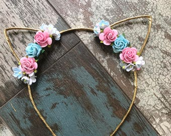 Pink and Blue Cat Ears, Floral Cat Ears, Cat Ear Headband