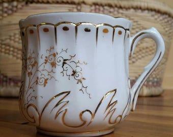 Vintage mustache cup, white & gold mustache mug, mans mug, mustache coffee cup, mens coffee cup, mustache mug, mustache mug