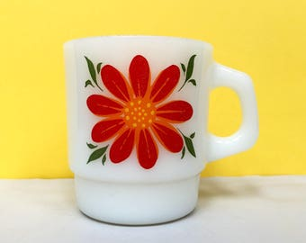 Fire King floral mug - red and orange flowers