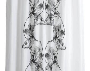 Curtain panel black and white Bear Animals Modern Decor Cafe curtain Kitchen valance , runner , napkins available, great GIFT