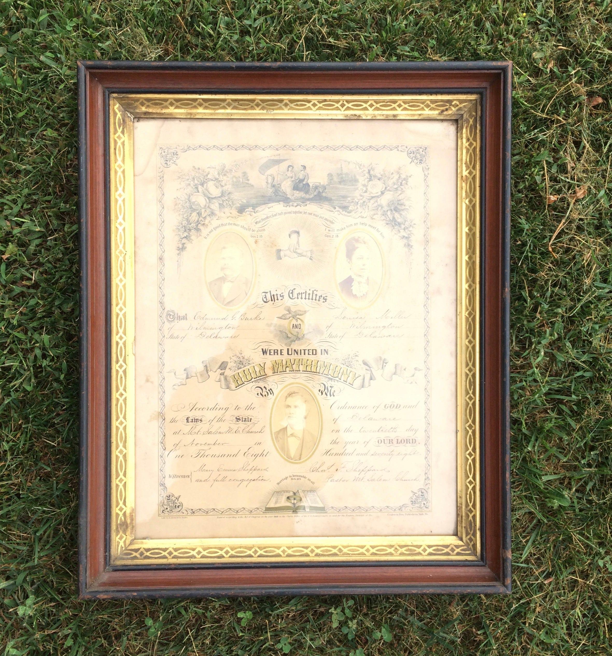 1878 Delaware Marriage Certificate Original Frame Beautiful