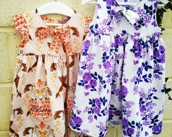 Vintage Purple Fabric Girl's Dress