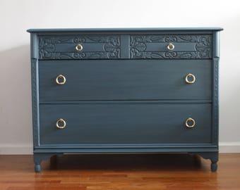 Vintage Blue/Black Large Dresser/Changing Table