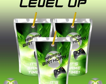 Video Game Juice Pouch-Juice Pouch Labels-Custom Juice Labels-Video Game Party-Digital File-Printable-PDF File