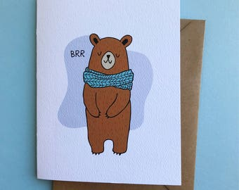 Winter Holiday Scarf Bear Greeting Card