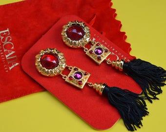 Authentic VINTAGE ESCADA Margaretha Ley Massive Tassel Earrings Clip on Early 1990s