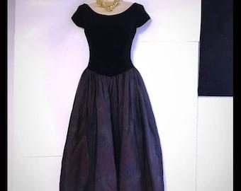 VTG Laura Ashley 80's gown velvet bodice U.K. 8