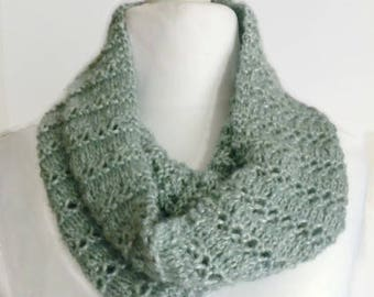 Green cowl neck scarf, circle scarf, sage knitted cowl, loop scarf, sage eternity scarf, handmade scarf, cowl infinity scarf, knit cowl