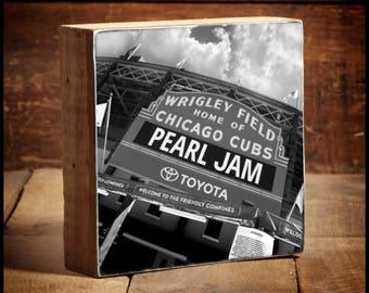 Pearl Jam Wrigley Field Marquee Reclaimed Wood Block