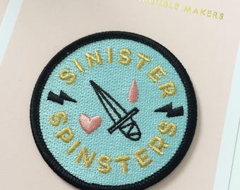 Sinister Spinsters iron-on embroidered patch
