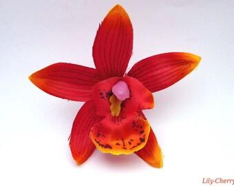 Artificial flower Orchid fine petal gradient ORANGE 7.5 cm x 1 hair clip
