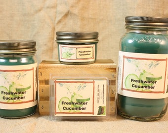 Freshwater Cucumber Scented Candle, Freshwater Cucumber Scented Wax Tarts, 26 oz, 12 oz, 4 oz Jar Candles or 3.5 Clam Shell Wax Melts
