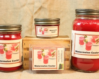 Watermelon Cooler Scented Candle, Watermelon Cooler Scented Wax Tarts, 26 oz, 12 oz, 4 oz Jar Candles or 3.5 Clam Shell Wax Melts