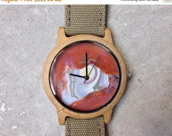 ON SALE Stone watch, Marble watch , Mens watch ,Gemstone watch ,Agate watch, Womens watch, red watch
