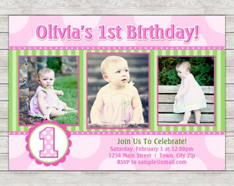 Girl 1st Birthday Invitation, Pink 1st Birthday Invitation - Digital File (Printing Services Available)