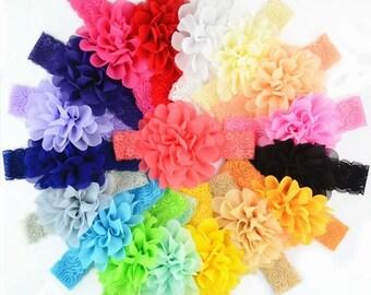 Lace headband, Baby headband, chiffon headband, baby shower, flower headband, children headband, girls, stretchy headband,