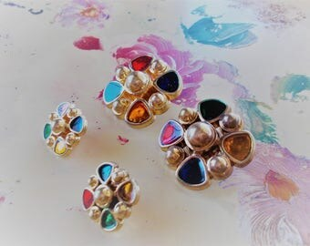 Vintage Jewel Tone Buttons Set of Four Ruby, Emerald, Amber and Sapphire Bakelite