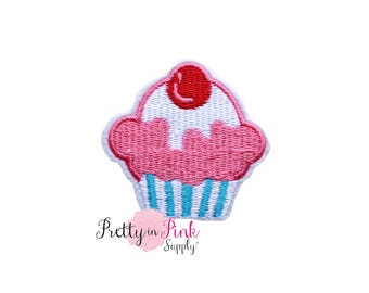 Cupcake Iron On Patch Embellishment - Applique- Embellishment- DIY Headband Supply- applique - patch - Embroidered Patches