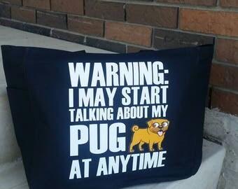 Pug tote bag - dog themed gift - polyester crafting tote bag - doggy tote bag - original design dog tote - pug tote - pug gift - pugs