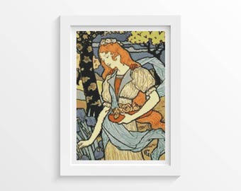 Woman Cross Stitch Chart, Woman Gathering Flowers Cross Stitch Pattern PDF, Art Cross Stitch, Eugene Grasset (GRASS01)