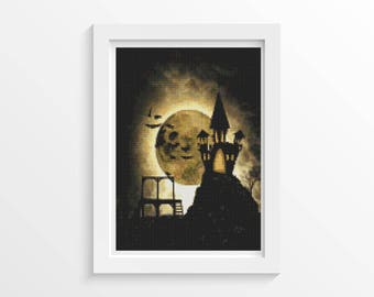 Halloween Cross Stitch Chart, Halloween Night Cross Stitch Pattern PDF, Art Cross Stitch, Holiday Cross Stitch, Embroidery Chart (ART033)