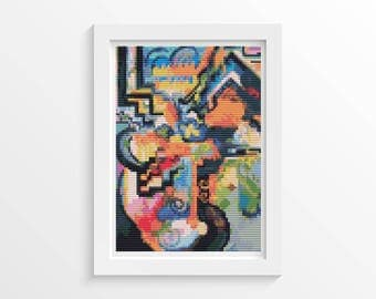 Cross Stitch Kit, Colored Composition Homage MINI Cross Stitch, Embroidery Kit, Art Cross Stitch, August Macke (TAS140)