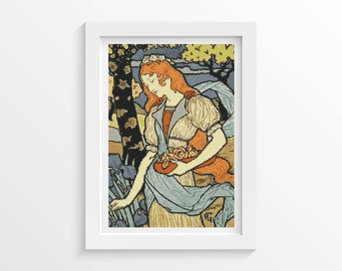 Cross Stitch Pattern PDF, Embroidery Chart, Art Cross Stitch, Woman Cross Stitch, Woman Gathering Flowers by Eugene Grasset (GRASS01)