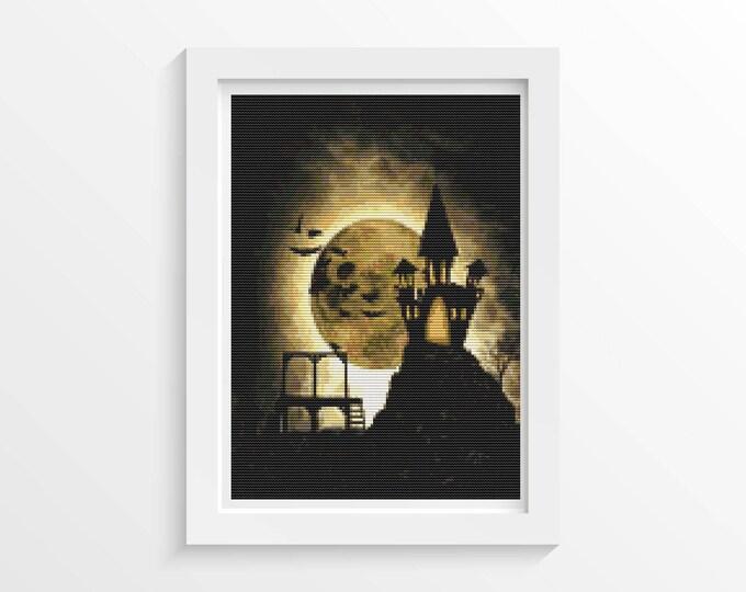 Cross Stitch Pattern PDF, Embroidery Chart, Art Cross Stitch, Holiday Cross Stitch, Halloween Night Castle (ART033)